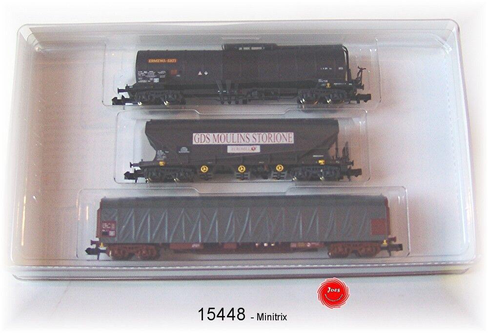 Trix Minitrix 15448 Set de Vagones el SNCF 3 Piezas   Nuevo en Embalaje Original