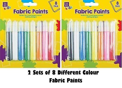 TESSUTO VERNICI PENNE Permanenti T-SHIRT VESTITI disegni 8 colori assortiti
