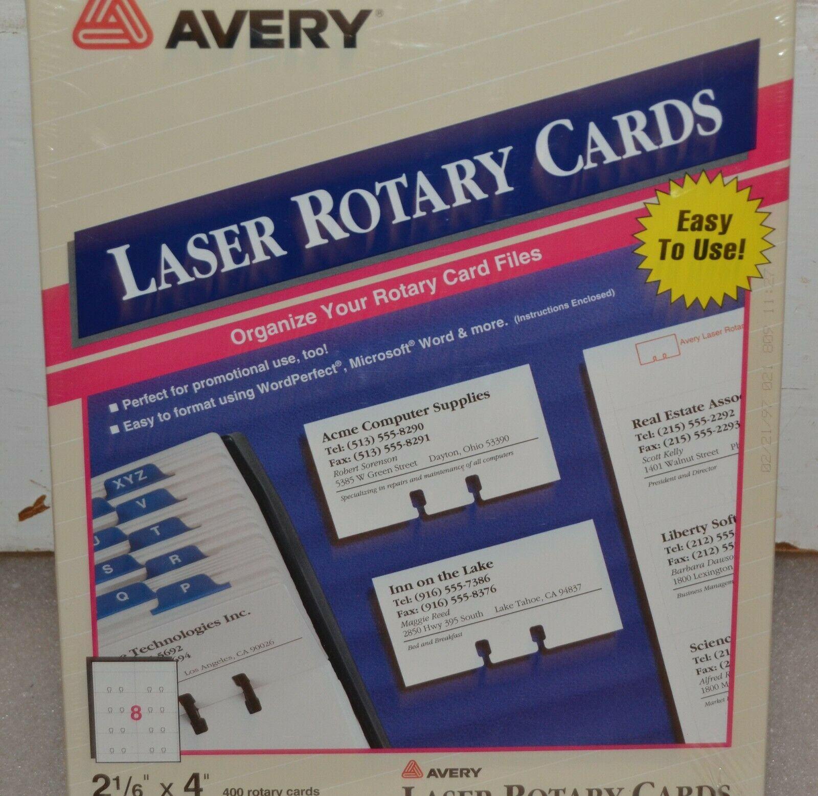 White Avery 5385 Rotary Card