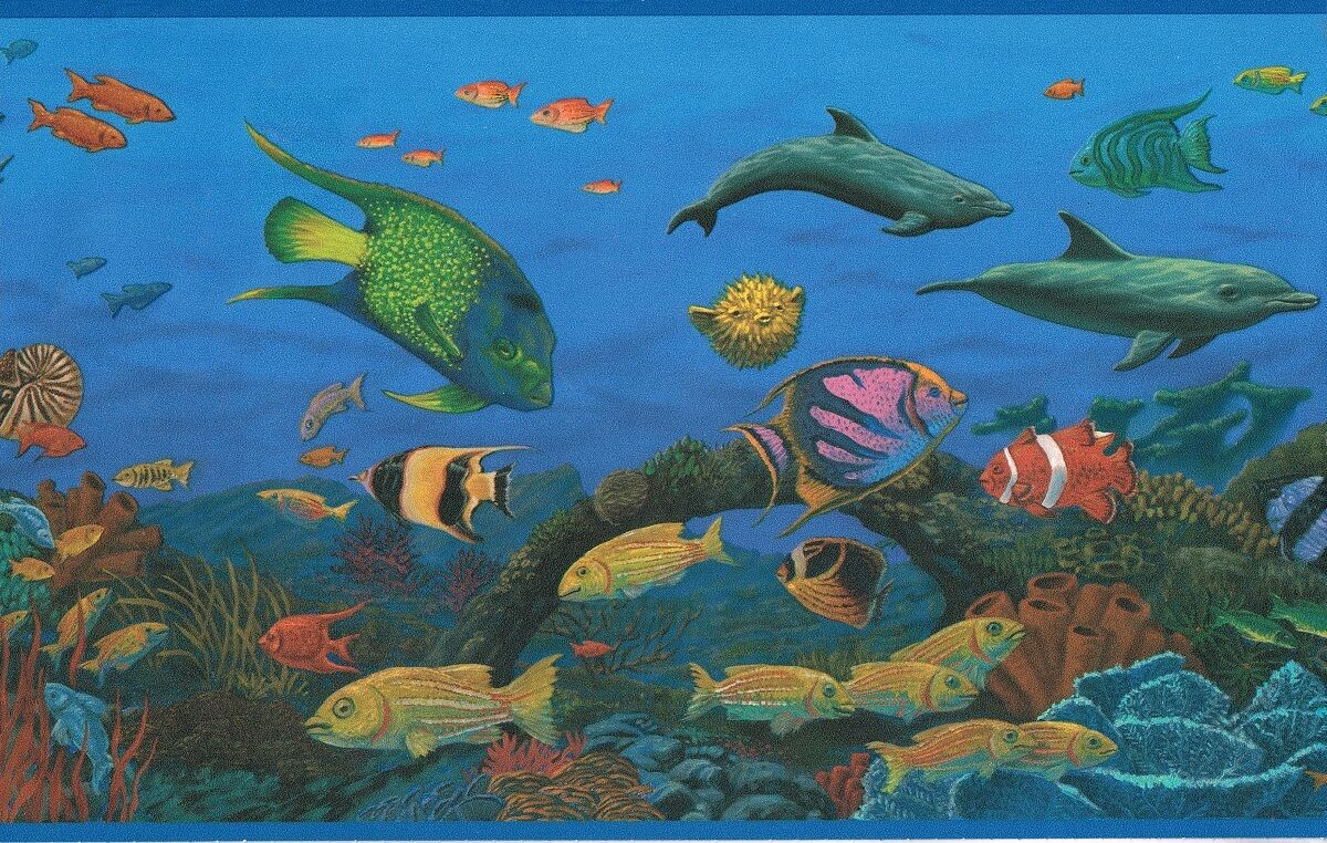 Dolphins Tropical Fish 10 1 4 Inches Blue Edges Back Wallpaper