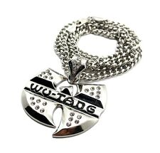 """NEW ICED OUT WU TANG HIP HOP PENDANT & 6mm/36"""" CUBAN LINK CHAIN NECKLACE - XK4"""