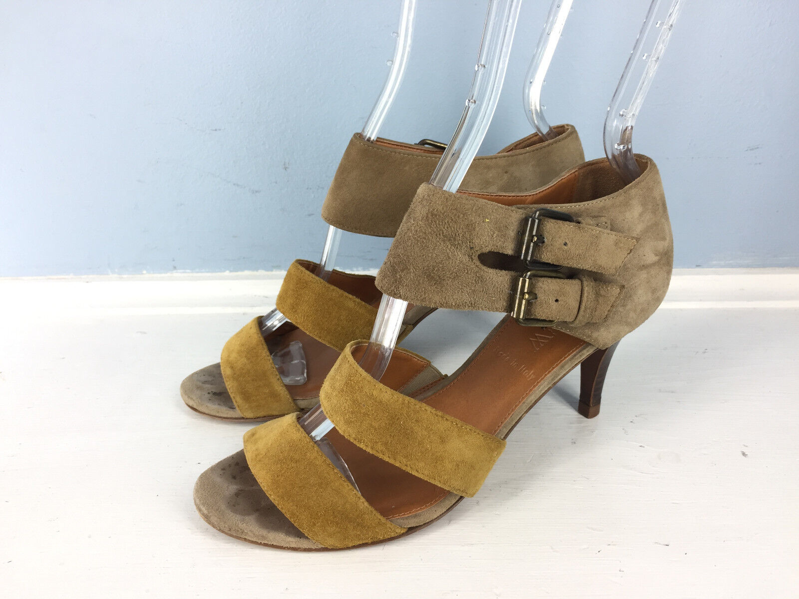 J CREW 5.5 Brown Suede Leather Strappy Ankle Strap Strap Strap Kitten Heel Sandals Career 0c443e