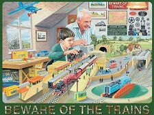 Model trains. Beware of the trains. Man and boy. Small Metal/Tin Sign
