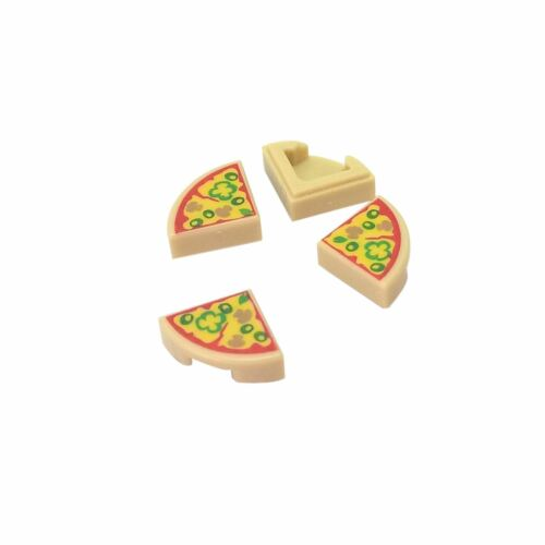 Round 1 x 1 Quarter with Pizza Slice Pattern Tan 4 NEW LEGO Tile