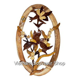 hand carved wood art intarsia flower sign plaque wood flowers for