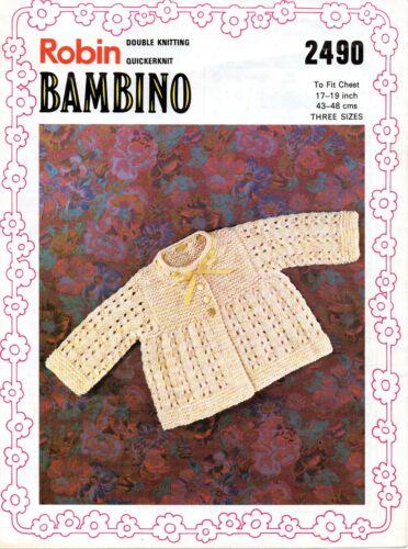 """Robin 2490 Vintage Baby Knitting Pattern Girls Cardigan 17-19/"""" 6-18 month DK"""