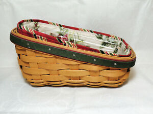 LONGABERGER-2007-Holiday-Helper-Sleigh-Basket-Combo-with-Liner-and-Protector-EUC