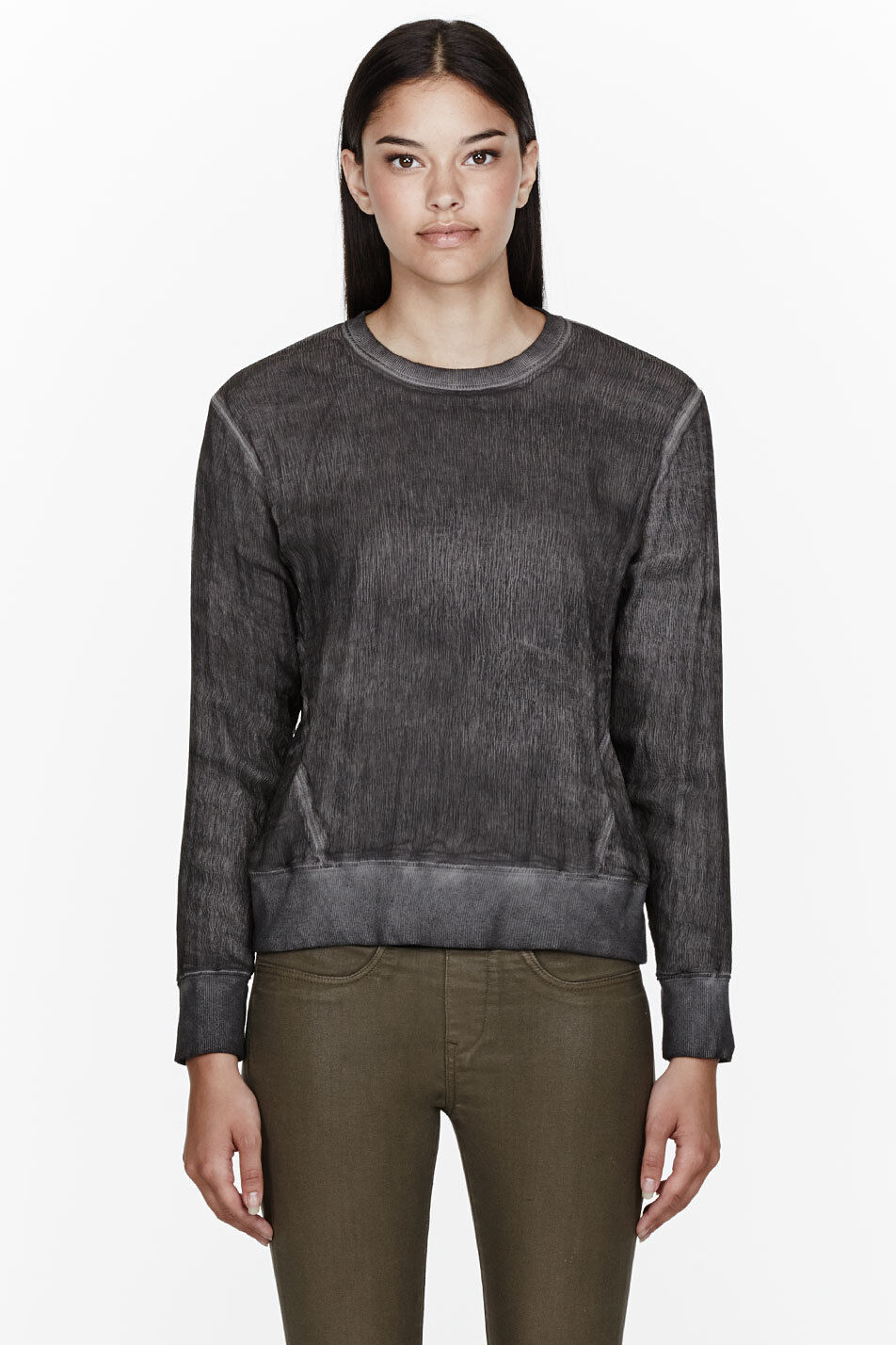 HELMUT HELMUT LANG CHARCOAL WASHED VOILE CRINKLED LAYErot SWEATER BLOUSE-S,10-UK