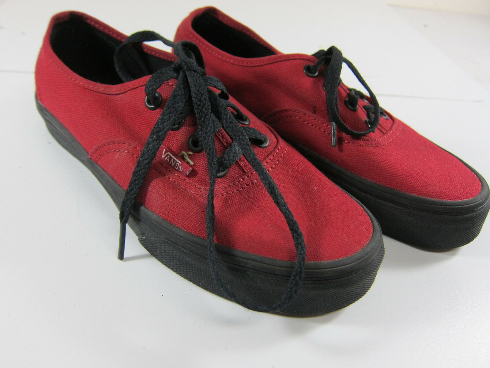 Vans Off the Wall 614992 Mens Size Canvas 5.5 Womens 7 Black/Red Canvas Size Skate Shoes 2d4815