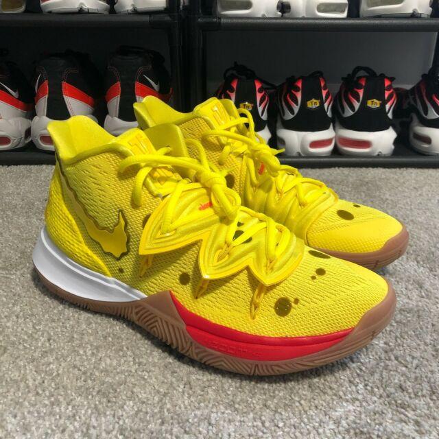 Nike Kyrie Irving 5 Spongebob Squarepants Yellow Gum Brown Mens Size 12