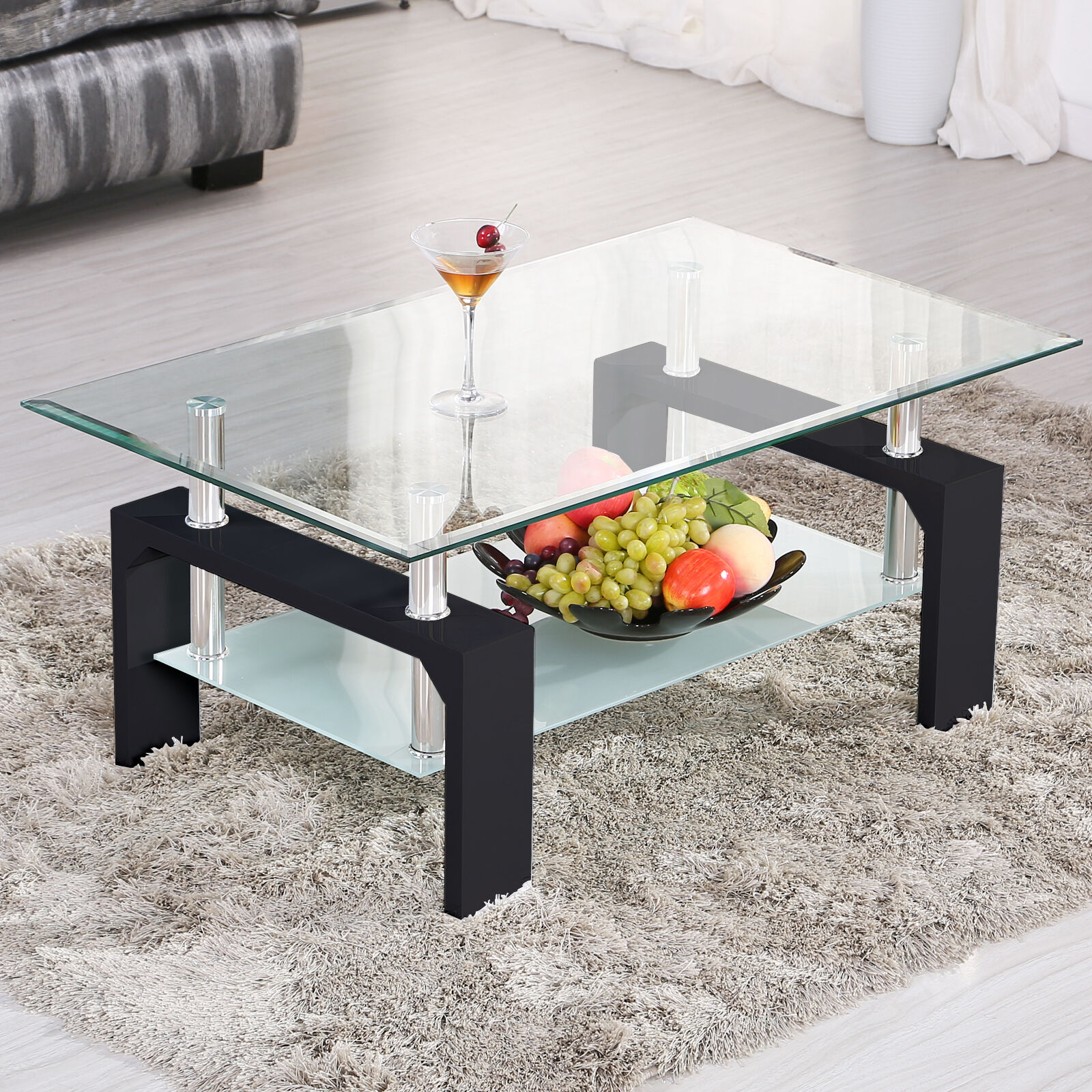 Delicieux Modern Rectangular Black Glass Chrome Coffee Table W/Shelf Living Room  Furniture