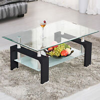 Rectangular Glass Coffee Table Black Shelf Chrome Wood Living Room Furniture
