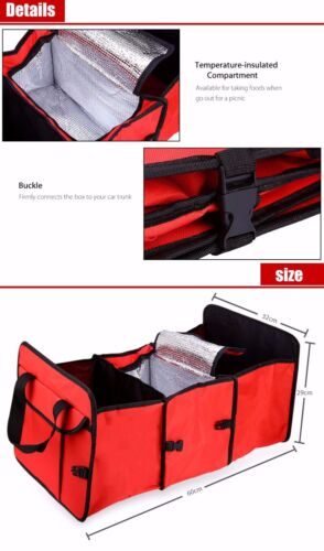 RED CAR BOOT TRUNK STORAGE ORGANISER FOLDABLE PORTABLE TIDY /& INSULATED COOL BAG