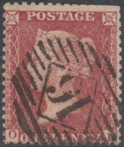 1857-C10-1d-ROSE-RED-SCARCE-PLATE-45-GOOD-USED-LONDON-INLAND-16-CANCEL-OL