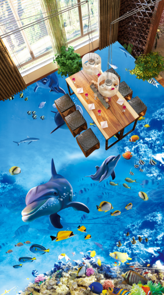 3D Dolphin Cartoon Kid 7 Floor WallPaper Murals Wall Print Decal AJ WALLPAPER US