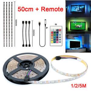 5V-USB-1M-1-5M-2M-5M-LED-Strip-Lights-TV-Back-RGB-Colour-Changing-Remote-Control