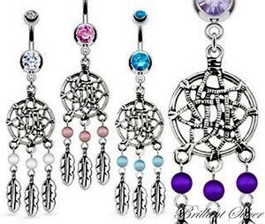 Piercing-Nombril-Argent-Reves-Dreamcatcher-blanc-rose-bleu-amp-violet