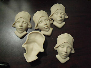 """Lot of 5 Vintage ODD Porcelain Girl Shell Faces for Dolls 2 3/4"""" Tall LOOK"""