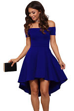 New Royal Blue Off Shoulder Skater Dress Party Club Summer Wear Size UK 16-18