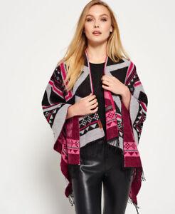 New Womens Superdry Kaya Blanket Cape Black