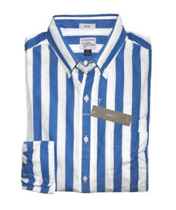 J-Crew-Men-039-s-M-Slim-Fit-NWT-Blue-Cabana-Striped-Secret-Wash-Casual-Shirt