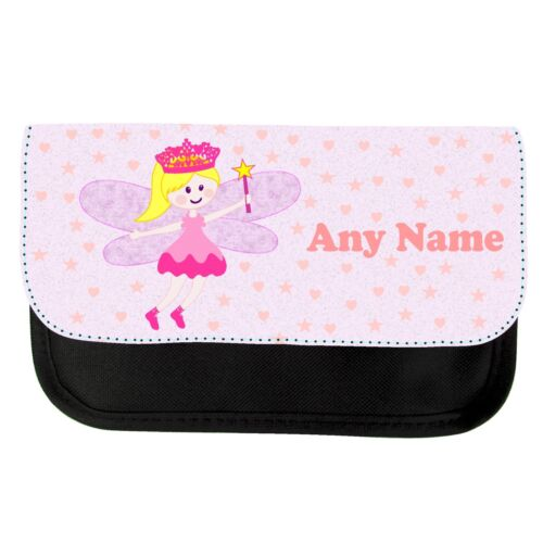 PERSONALISED CUTE FAIRY /& WAND PRINT PENCIL CASE SCHOOL COLLEGE GIFT CHRISTMAS