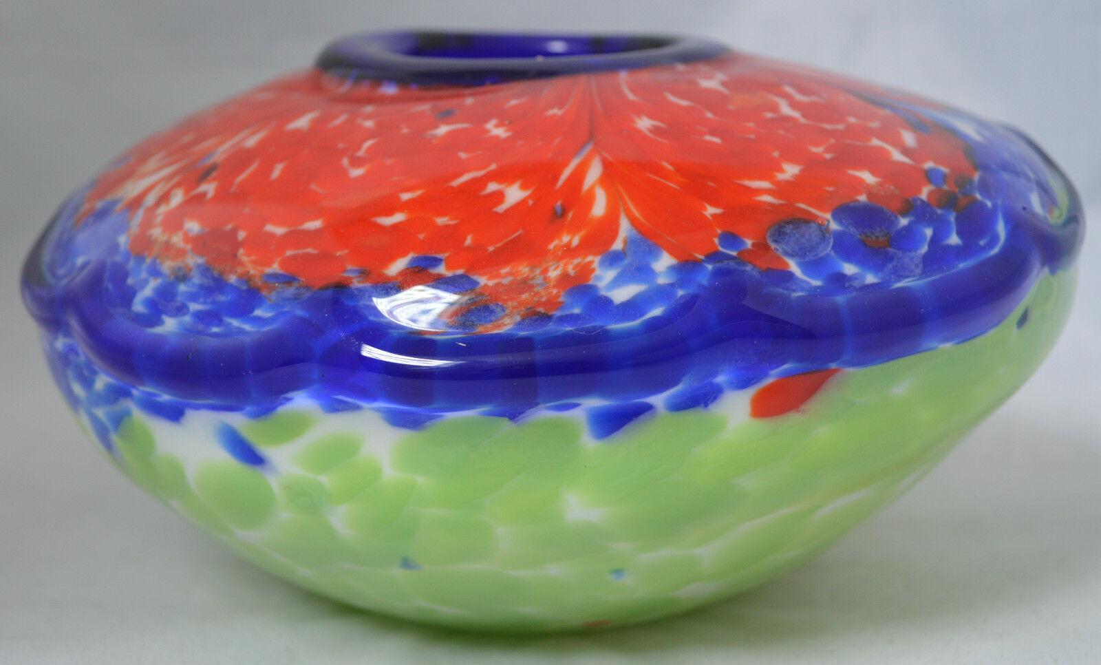 Art Glass Vase Bright Farbeful Blown Glass rot Blau Grün Irregular shape  B