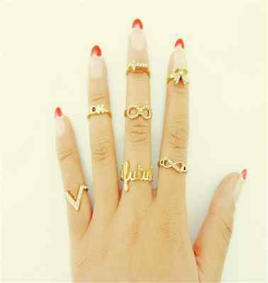 1 Set 7pcs Womens Fashion Bowknot Knuckle Midi Finger Tip Stacking Above Rings