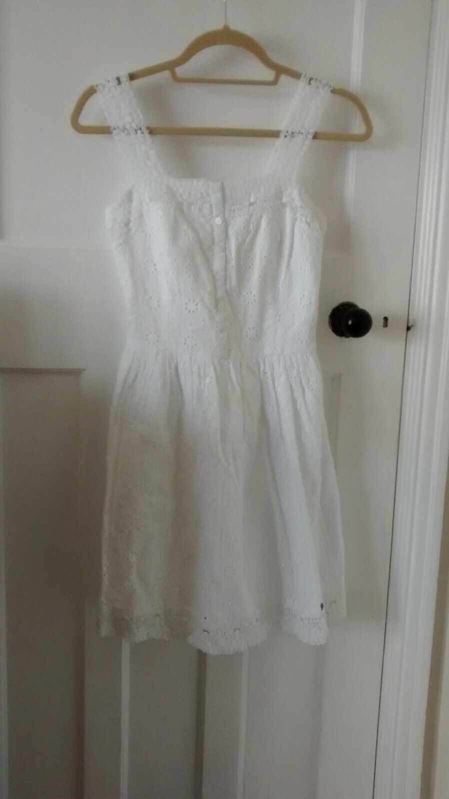 Superdry White Broderie Anglaise Button Down Sundress Size 6 XXS