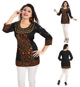 UK-STOCK-WOMEN-FASHION-INDIAN-KURTA-KURTI-Printed-TUNIC-TOP-SHIRT-MI513-BLACK