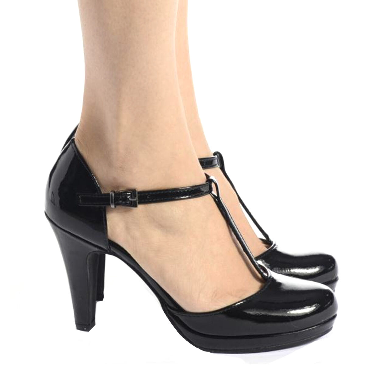 Ladies Womens High Heel T Bar Round Front Toe Ankle Strap Buckle Patent Size