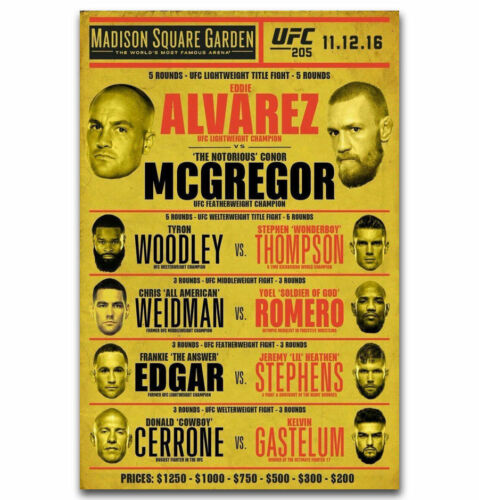 "Art Hot Conor McGregor vs Alvarez UFC 205 Silk Custom Poster 24x36/"" 27/"" P-1361"
