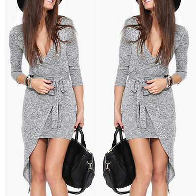 Sexy Women Summer Long Sleeve Casual Evening Party Cocktail Short Mini Dress