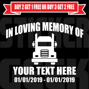 In Loving Memory Decal Custom Vinyl Personalized Sticker Semi Truck Big Rig