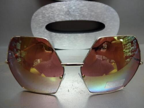 OVERSIZE VINTAGE HEXAGON RETRO Style SUNGLASSES Gold Frame Pink Gold Mirror Lens