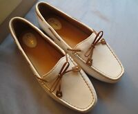 Clarks White Slip On Leather Loafers Womans Shoes 9.5 W Dunbar Groove Eur 41