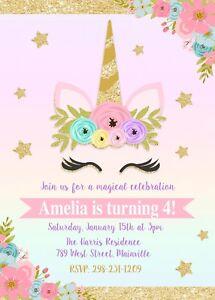 unicorn invitation unicorn birthday invitation floral gold pink