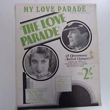 "song sheet MY LOVE PARADE ""the love parade"" M. Chevalier, J. MacDonald 1929"