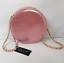 Ladies Ella Metallic Pink Round Bag Woman/'s Chain Strap Circle Medium Handbag