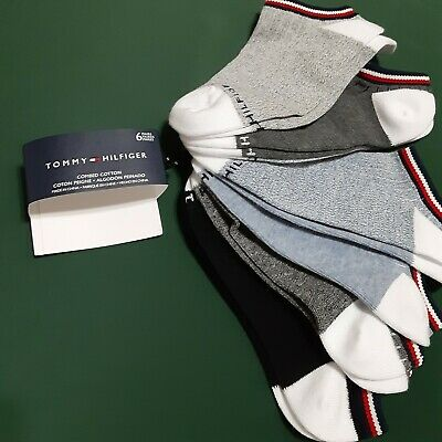 Tommy Hilfiger NEW with Tags Black Grey and Purple Striped and Geo Crew Socks