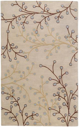 4x4 Round Surya Handmade Wool Gray Leaf Vine 5008 Rug Approx 4/'