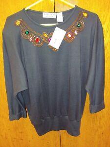 Adriano-By-I-Fatigati-Women-039-s-Black-Sweater-rhinestones-shoulder-pads-sz-Small