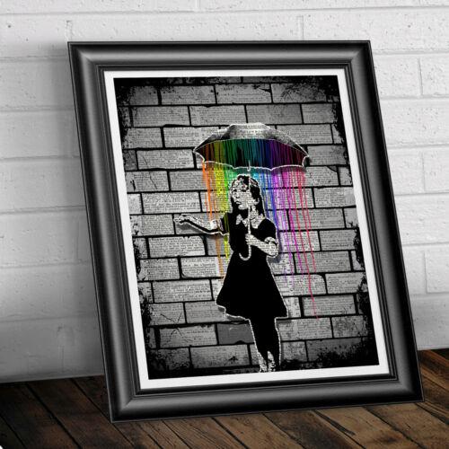 Banksy Umbrella Girl Print Wall Art on Antique Dictionary Book Page Graffiti Art
