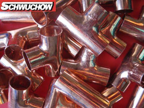 30 Kupfer T-Stück 15x15x15 mm 5130 Kupferrohr Lötfitting Kupferbogen CU Fitting