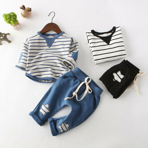 2PCS Toddler Baby Girl Boy Stipe Long Sleeve Top Star Solid Pants Kid Outfit Set