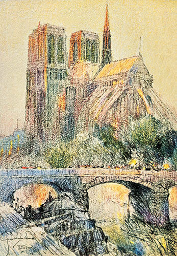 Edwards Art Print of Vintage Art Notre Dame by George W