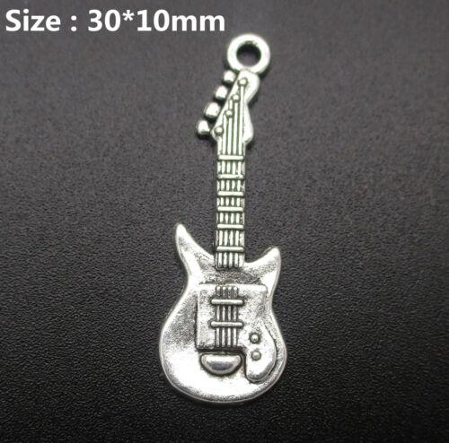 Wholesale Tibetan Silver Guitar Charm Pendants Jewelry Crafts DIY Beads 30*10mm