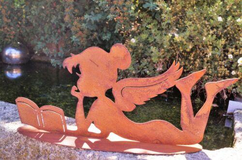 Edelrost Elfe Violett liegend mit Buch 40x18cm Gartendeko Geschenk