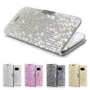 new arrival 72669 4456d Details about Bling Crystal Sparkle Glitter Wallet Flip Case Samsung Galaxy  Note 5/S6/S7/Edge