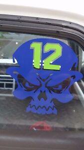 Seahawks-Skull-12-sticker-decal-6x6-Blue-NEW